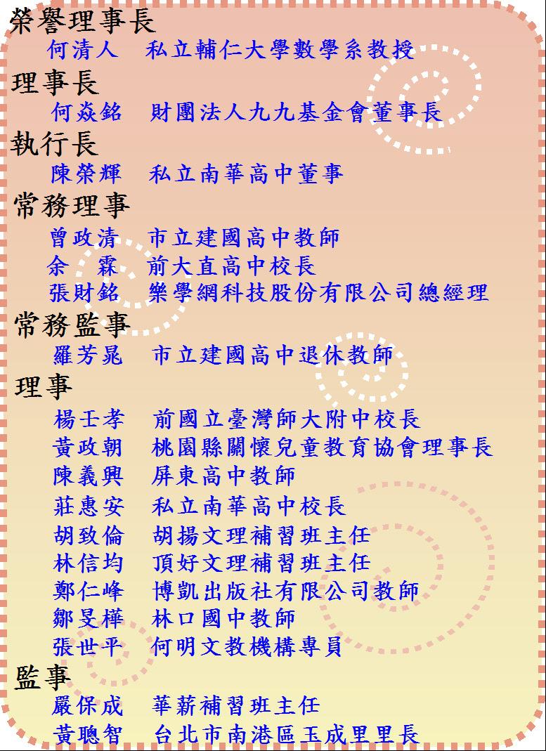 第四屆理監事名單